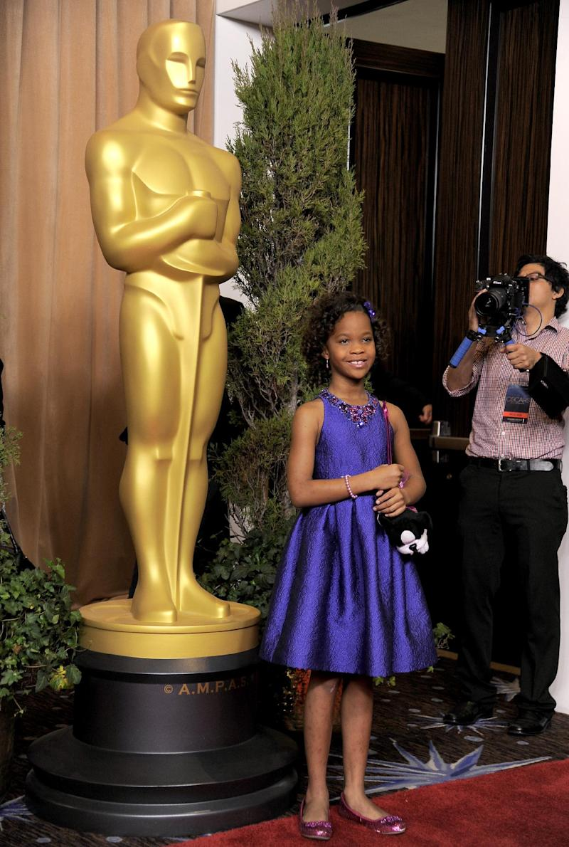 """Quvenzhane Wallis, nominated for best actress in a leading role for """"Beasts of the Southern Wild,"""" arrives at the 85th Academy Awards Nominees Luncheon at the Beverly Hilton Hotel on Monday, Feb. 4, 2013, in Beverly Hills, Calif. (Photo by Chris Pizzello/Invision/AP)"""