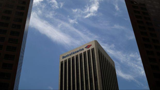 A Bank of America building is seen in Los Angeles, California