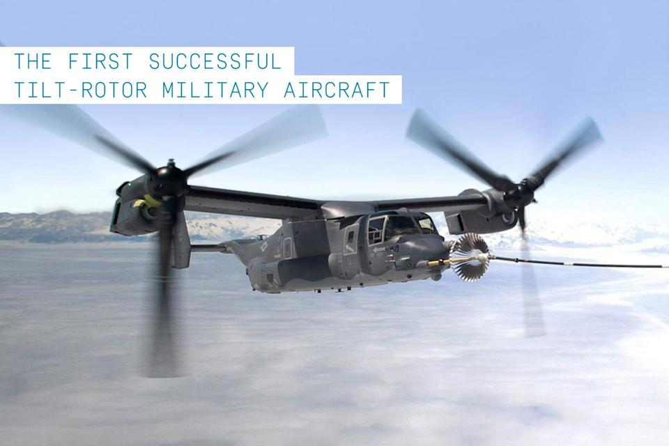 """<p>The ability to take off and land vertically like a helicopter but cruise at high speed and long ranges like a turboprop became an important need for the United State military in the early 1980s. Boeing and Bell were jointly contracted to develop such a craft to replace the aging fleet of <a href=""""https://www.popularmechanics.com/military/aviation/news/a28528/bells-v-280-blackhawk-replacement-turns-rotors/"""" rel=""""nofollow noopener"""" target=""""_blank"""" data-ylk=""""slk:CH-46 Sea Knights"""" class=""""link rapid-noclick-resp"""">CH-46 Sea Knights</a>. Their creation was the now-famous <a href=""""https://www.popularmechanics.com/military/g773/anatomy-of-a-special-operations-v-22-osprey/"""" rel=""""nofollow noopener"""" target=""""_blank"""" data-ylk=""""slk:V-22 Osprey"""" class=""""link rapid-noclick-resp"""">V-22 Osprey</a>.</p><p>Despite controversy about cost overruns and allegations that the V-22 was unsafe and inadequate for the mission, <a href=""""https://www.popularmechanics.com/military/aviation/a26242129/v-22-osprey-tiltrotor-bell-boeing/"""" rel=""""nofollow noopener"""" target=""""_blank"""" data-ylk=""""slk:the Osprey"""" class=""""link rapid-noclick-resp"""">the Osprey</a> survived and even flourished in active service with both the U.S. Marine Corps and the U.S. Air Force while deployed in transportation and medevac operations over Iraq, Afghanistan, Libya, and Kuwait.</p>"""
