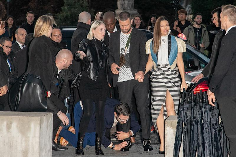Vitalii Sediuk jumps on singer Justin Timberlake as he arrives to attend the Louis Vuitton Womenswear Spring/Summer 2020 show as part of Paris Fashion Week on October 01, 2019 in Paris, France with Jessica Biel
