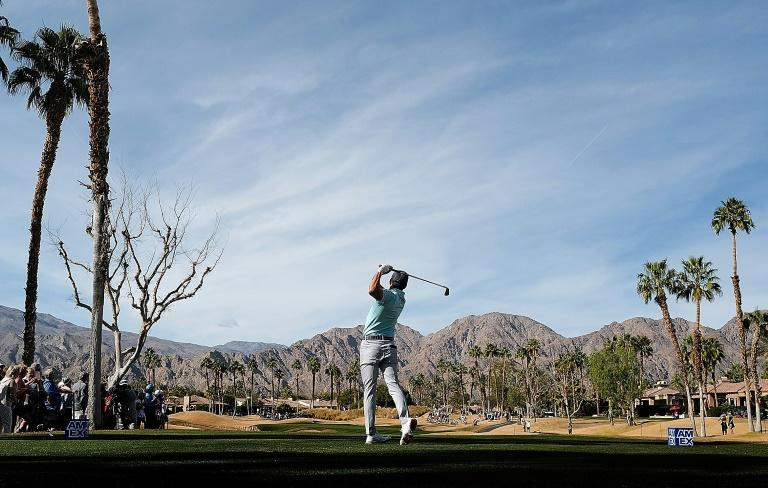 American Rickie Fowler on the way to a share of the second-round lead in the US PGA Tour event at La Quinta, California (AFP Photo/Marianna Massey)