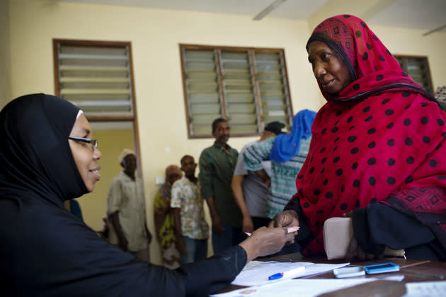Older people collecting their pension in Zanzibar, where a universal social pension was introduced in 2016