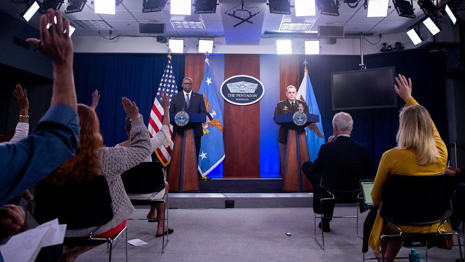 US Secretary of Defense Lloyd Austin III and Army General Mark Milley (R), Chairman of the Joint Chiefs of Staff, hold a press briefing about the US military drawdown in Afghanistan, at the Pentagon in Washington, DC September 1, 2021. (Saul Loeb/AFP via Getty Images)