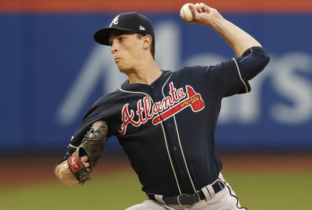 Atlanta Braves starting pitcher Max Fried winds up during the second inning of a baseball game against the New York Mets, Sunday, June 30, 2019, in New York. (AP Photo/Kathy Willens)