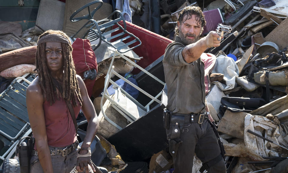 <p>It's been a year of upheaval for the zombie killers, as Andrew Lincoln moved onto pastures new (standalone movies about Rick Grimes), Maggie (Lauren Cohan) left and Darryl (Norman Reedus) took centre stage.<br>Photo: AMC/AP </p>