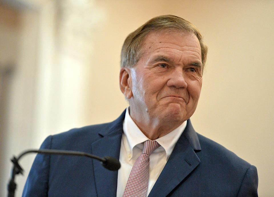 Erie native Tom Ridge, who is a former Secretary of Homeland Security, Pennsylvania Governor and U.S. Congressman, addresses the audience while introducing his brother David Ridge, who was sworn in as a new Erie County judge during a ceremony that included other elected officials, Jan. 3, 2020, in Courtroom H at the Erie County Courthouse.