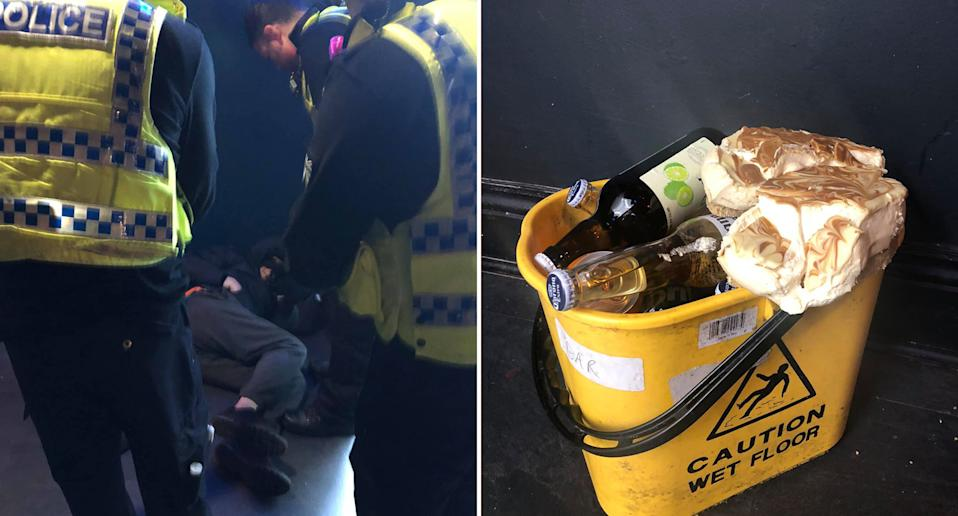 A man is pictured surrounded by police sleeping in the bathroom at 808 Bar & Kitchen, in Sunderland. Also pictured is a mop bucket filled with bottled beer and a cheesecake.