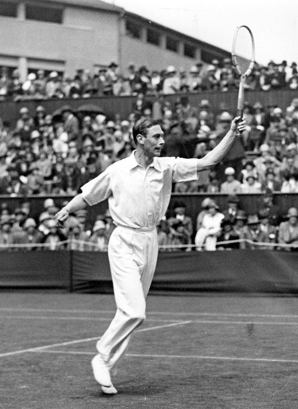 The Duke of York, later King George VI, playing at Wimbledon in 1926.