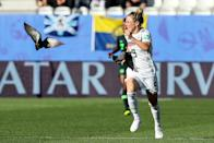 #9 Svenja Huth of Germany in action during the 2019 FIFA Women's World Cup France Round Of 16 match between Germany and Nigeria at Stade des Alpes on June 22, 2019 in Grenoble, France. (Photo by Zhizhao Wu/Getty Images)
