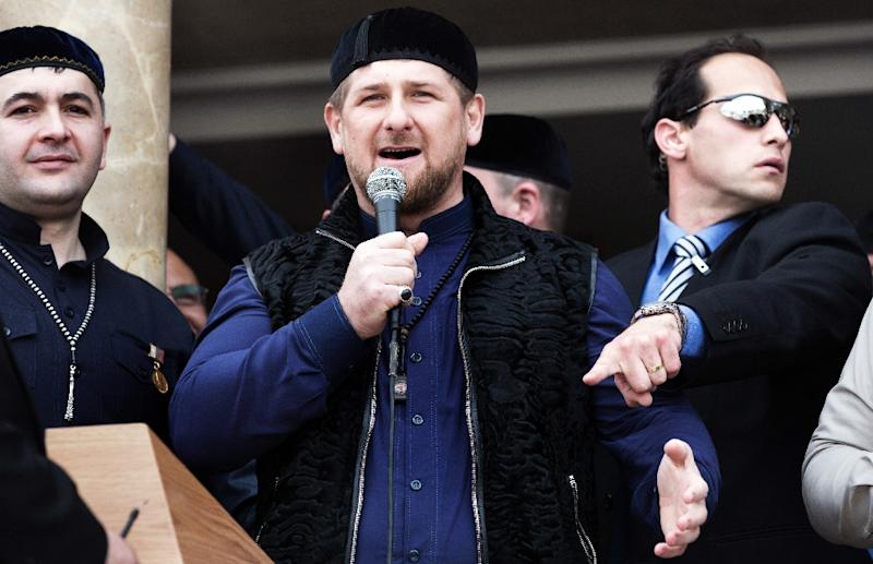 Chechen leader Ramzan Kadyrov -- pictured here in March 2014 -- said three Islamic insurgents and two policemen were killed in a shoot-out following an attack on police in Russia's Chechnya region (AFP Photo/MENAHEM KAHANA)