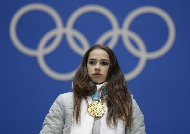 Medals Ceremony - Figure Skating - Pyeongchang 2018 Winter Olympics - Women Single Skating free skating - Medals Plaza - Pyeongchang, South Korea - February 23, 2018 - Gold medalist Alina Zagitova, an Olympic Athlete from Russia, on the podium.