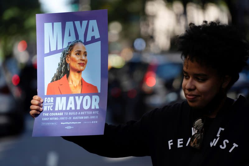 FILE PHOTO: A supporter holds a sign for New York City Mayoral hopeful Maya Wiley at the Democratic primary debate in New York City