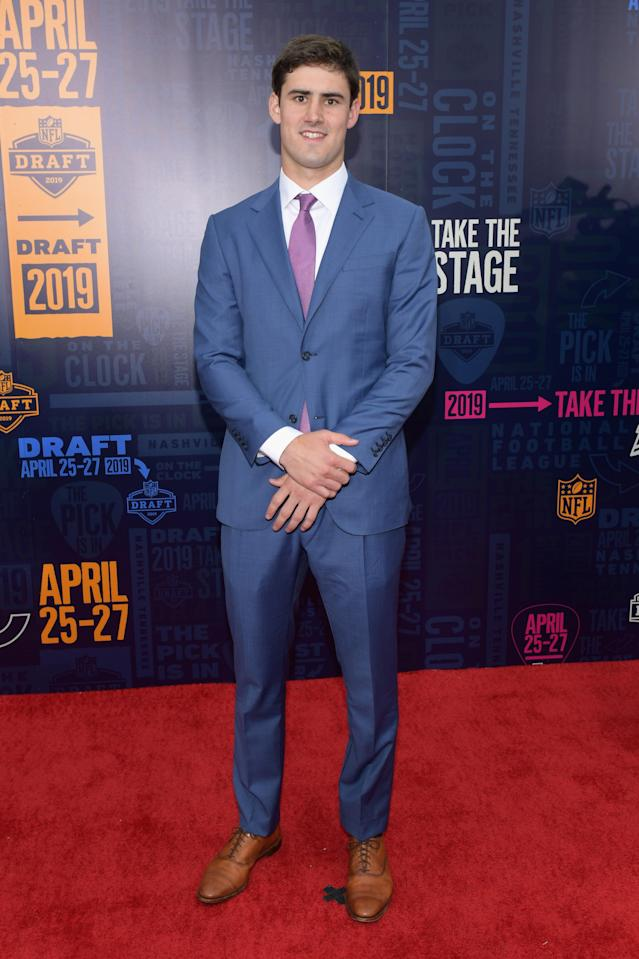Football player Daniel Jones attends the 2019 NFL Draft on April 25, 2019 in Nashville, Tennessee. (Photo by Jason Kempin/Getty Images)