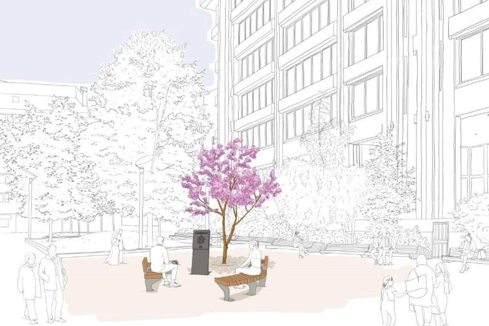 An artist's sketch outlining plans for a new memorial to transport workers (TfL)