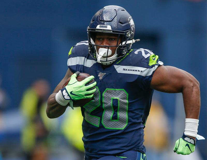 Running back Rashaad Penny #20 of the Seattle Seahawks