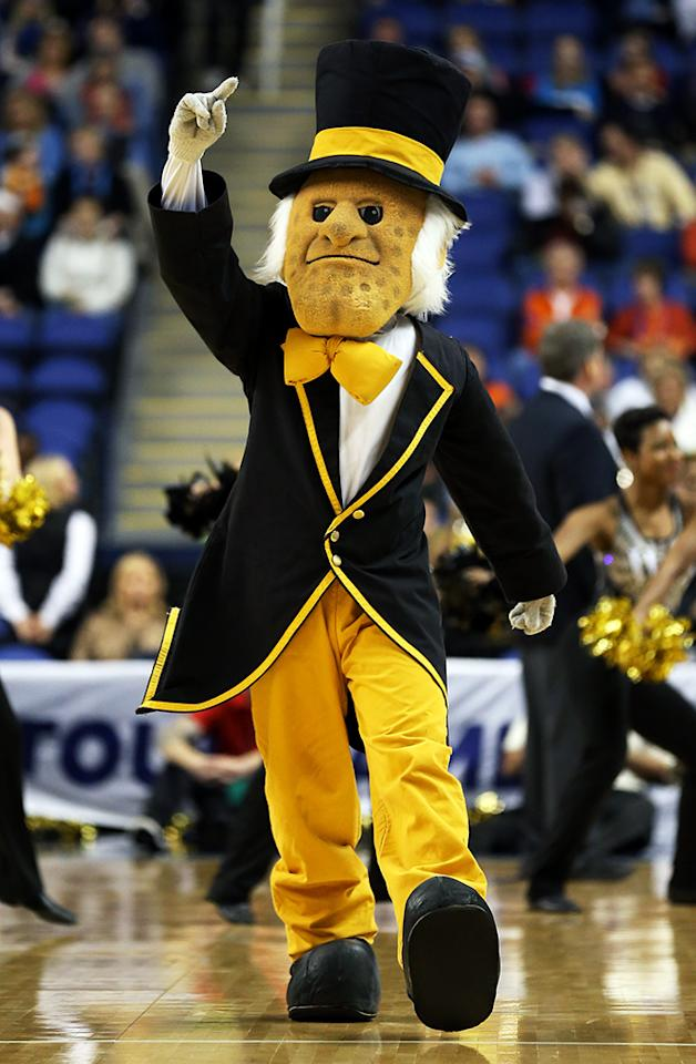 The Demon Deacon, mascot of Wake Forest, performs during the first round of the Men's ACC Basketball Tournament at Greensboro Coliseum on March 14, 2013 in Greensboro, North Carolina.  (Photo by Streeter Lecka/Getty Images)