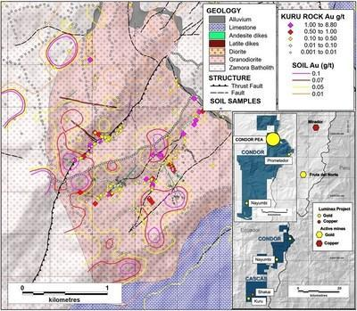 Figure 3. Contoured soil sample and rock chip gold results overlain on mapped geology to date. (CNW Group/Luminex Resources Corp.)