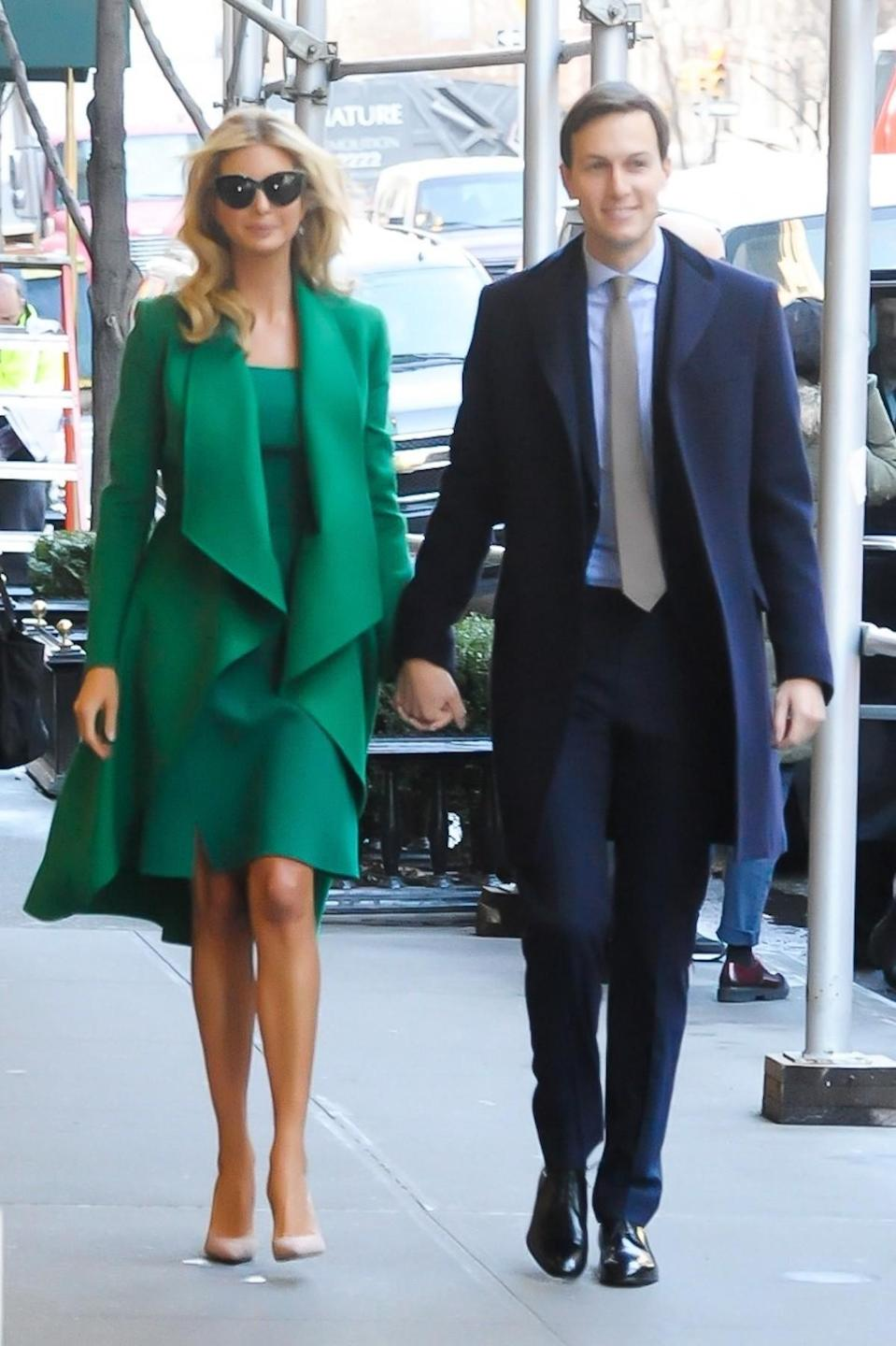 <p>Ivanka wore a green dress with a matching coat from designer Oscar de la Renta on Jan. 19, 2017 in New York City, the day before her father's inauguration. (Photo: AKM-GSI) </p>