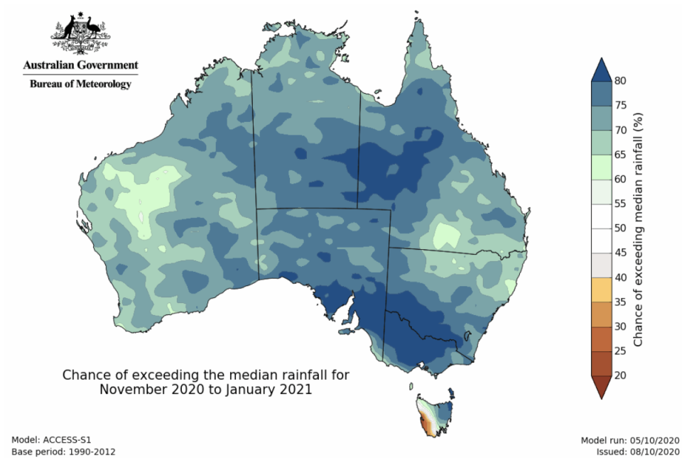A map of the predicted rainfall during La Nina. Source: BOM