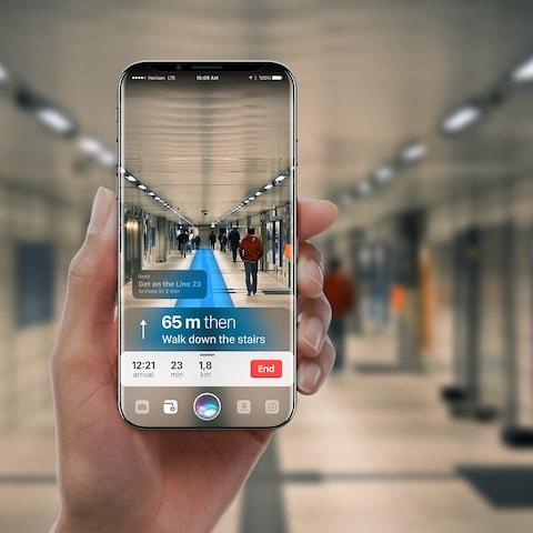iPhone 8 concept showing augmented reality directions - Credit: Gabor Balogh