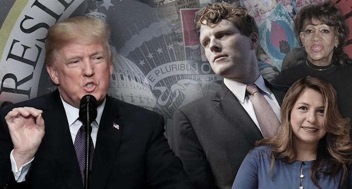 President Trump will deliver a State of the Union address Tuesday, and the Democratic responses will come from a variety of sources. (Yahoo News photo illustration; photos: AP, Michael Dwyer/AP, Delegate Elizabeth Guzman via Facebook, Faye Sadou/MediaPunch/IPX/AP, Craig Ruttle/AP, AP)