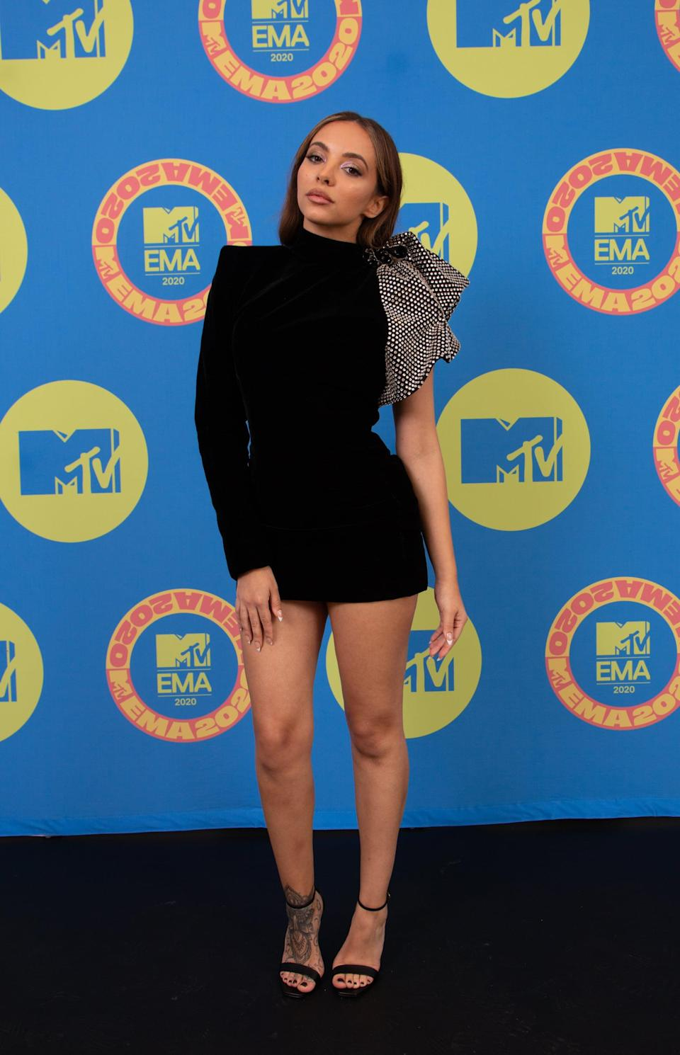 <p>Jade Thirlwall wears a black velvet Saint Laurent dress rented from Front Row London. </p>