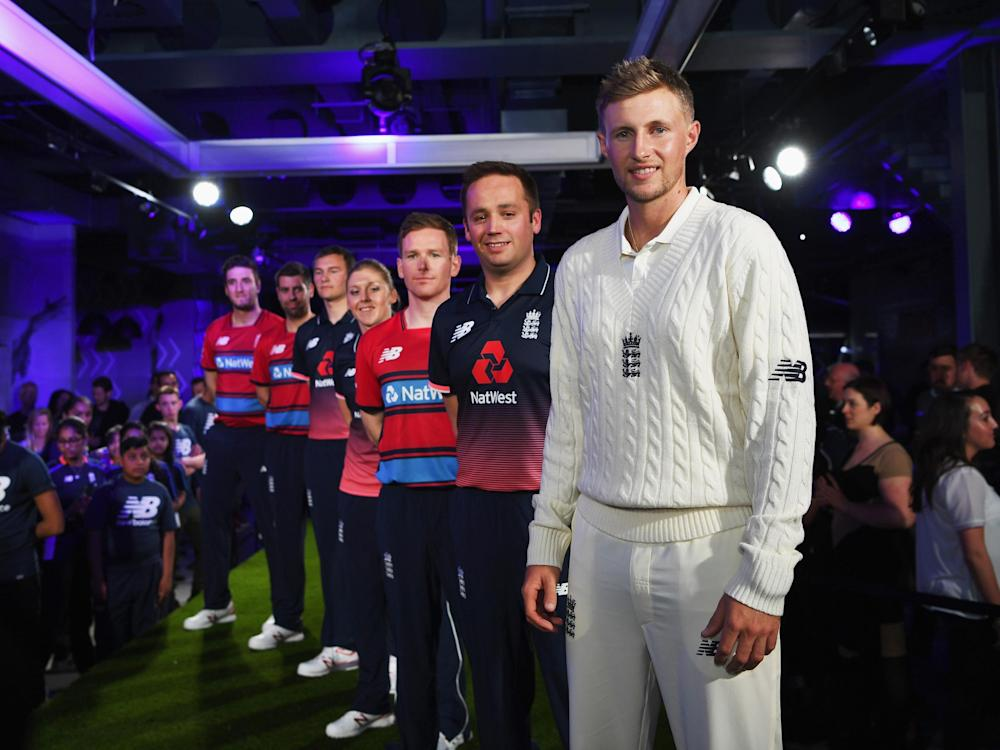 Root was modelling the new Test kit, while the new ODI and T20 kits were also launched: Getty