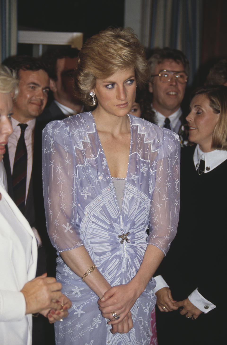 Diana, Princess of Wales  (1961 - 1997) attends a reception at the British Consulate in Dubai, in the United Arab Emirates, March 1989. She is wearing a cocktail dress by Zandra Rhodes.  (Photo by Jayne Fincher/Princess Diana Archive/Getty Images)
