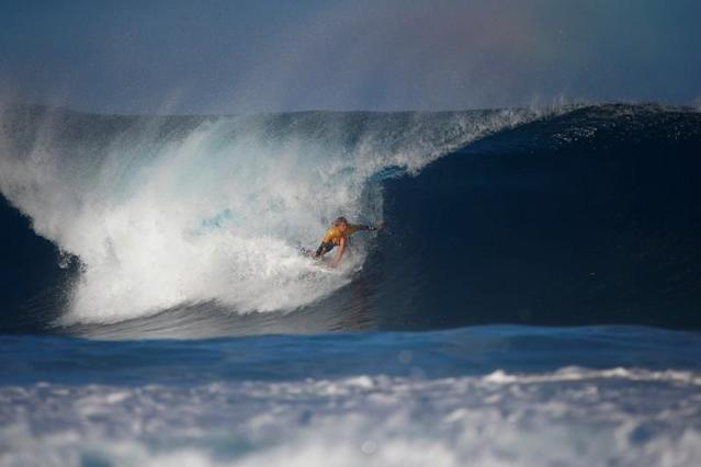 FILE PHOTO: Surfer John John Florence during a heat at the Billabong Pipe Masters at the Banzai Pipeline in Pupukea on the island of Oahu