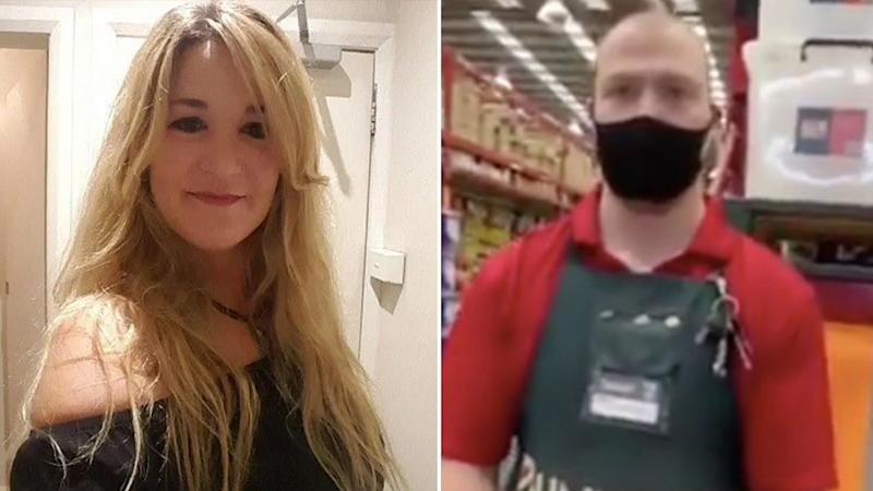 Pictured left is Kerry Nash. Pictured right is a clip of a Bunnings staff member from Nash's video. Source: LinkedIn/Twitter