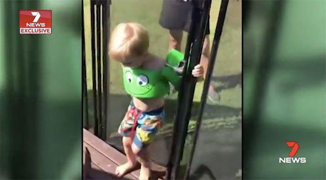 Curtis Modrow flicks open the gate of his aunt's pool fence with ease, before jumping in the pool. Source: 7 News