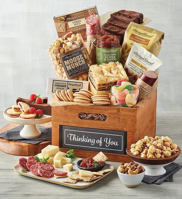 """<p>This <span>Harry &amp; David Deluxe """"Thinking of You"""" Gift Basket</span> ($100) will make their day.</p>"""