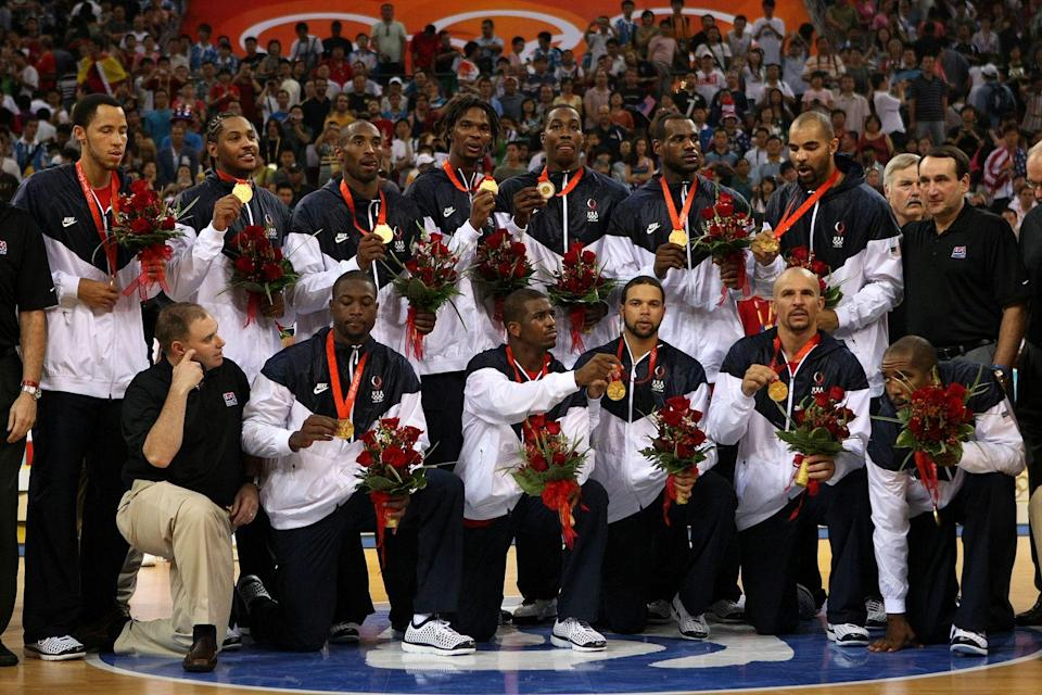 """<p>Dunking is allowed in <a href=""""https://www.cbc.ca/cbckids/olympics/rio2016/blog/olympics-weirdest-rules"""" rel=""""nofollow noopener"""" target=""""_blank"""" data-ylk=""""slk:Olympic basketball"""" class=""""link rapid-noclick-resp"""">Olympic basketball</a>. However, players aren't allowed to hang onto the hoop after doing so. </p>"""