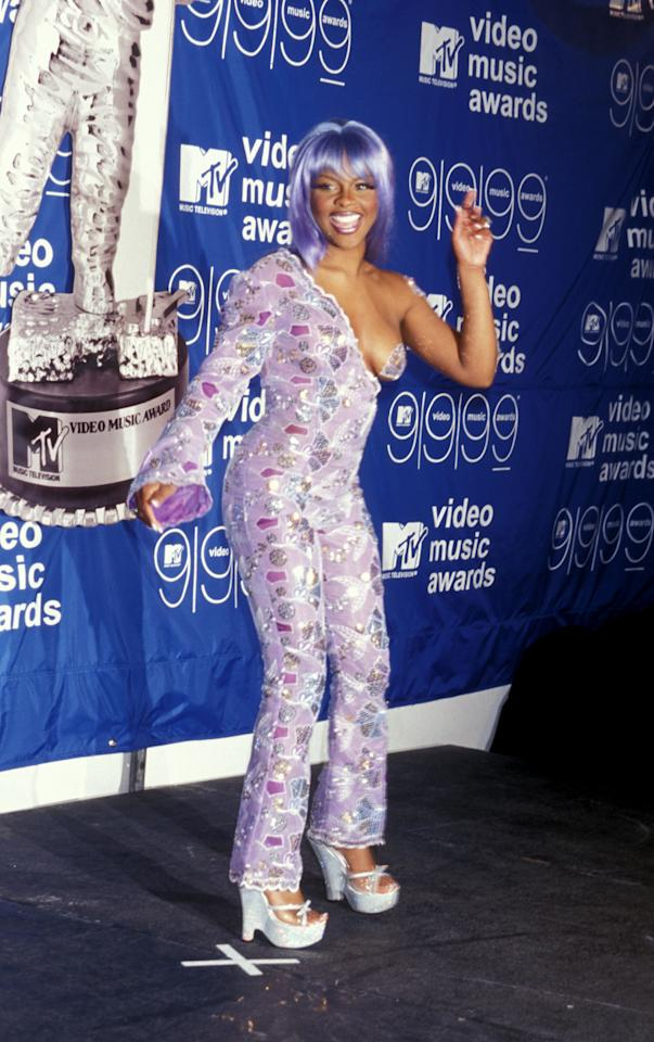 Who can forget Lil' Kim's outrageous purple-pastie mermaid look at the 1999 VMAs? We're still trying to block the super-awkward image of Diana Ross fondling the rapper's breast onstage--yes, that actually happened!