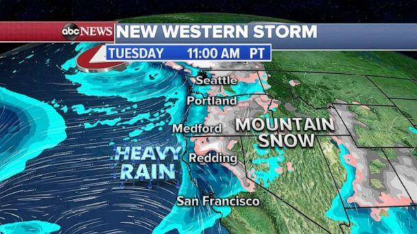 PHOTO: This western storm will cross the country and will bring rain, snow and ice to Midwest and the Northeast by the end of the week. (ABC News)