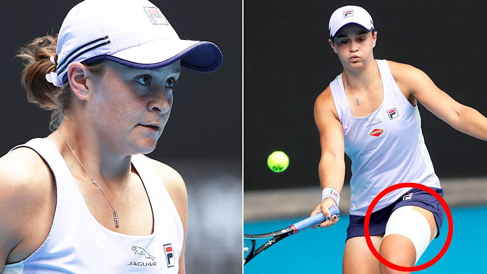 Pictured here, Ash Barty sports a heavily strapped left leg during her match.