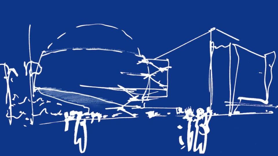 An early Renzo Piano sketch of the museum (AMPAS)