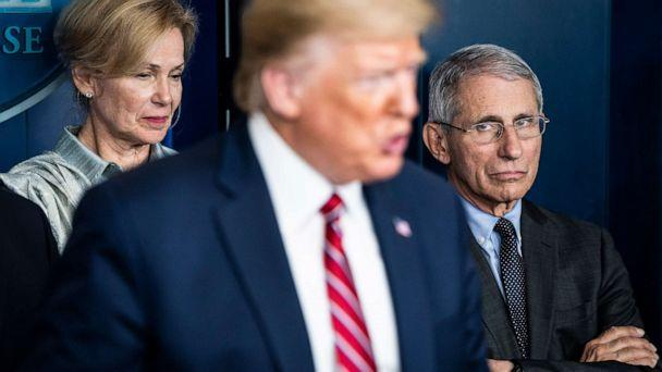PHOTO: Dr. Anthony Fauci, right, listens as President Donald J. Trump speaks with the coronavirus task force during a news conference at the White House, March 20, 2020 in Washington. (The Washington Post via Getty Images, FILE)