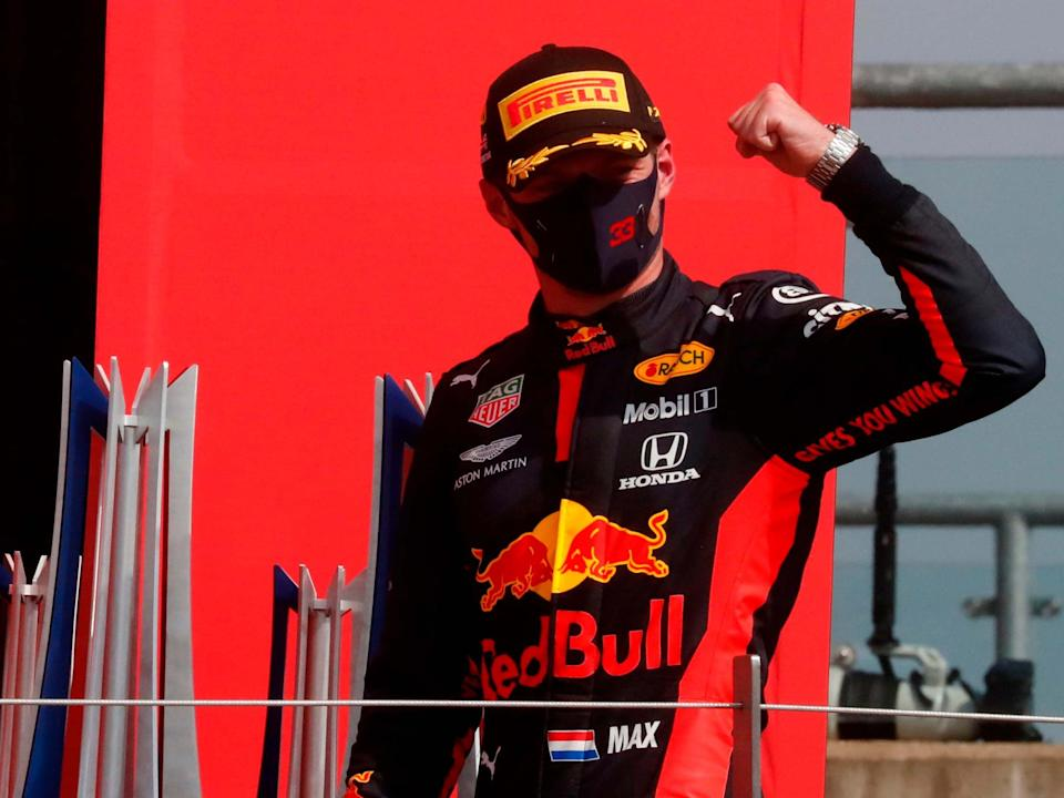 Max Verstappen celebrates winning the 70th Anniversary Grand Prix: Getty