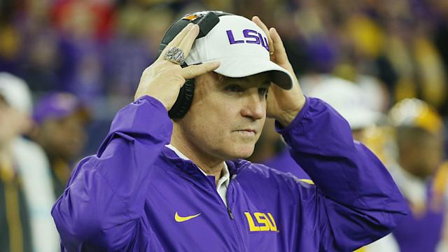 Les Miles was fired from LSU despite a record of 114-34. (Getty)