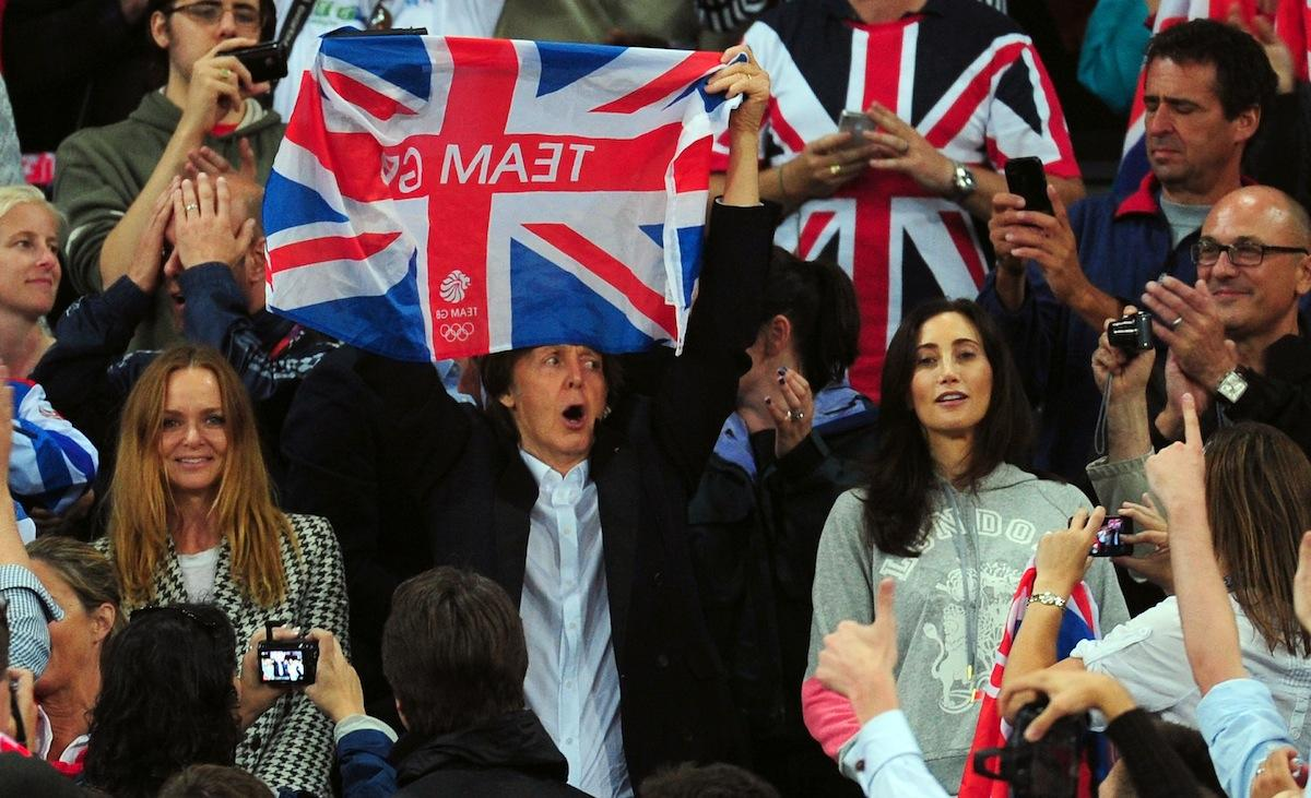 Stella and Paul McCartney    The designer attended Track and Field events with her dad and his wife Nancy Shevell at the Olympic Stadium, where Sir Paul cheered enthusiastically for the home team.    (Photo by Stu Forster/Getty Images)
