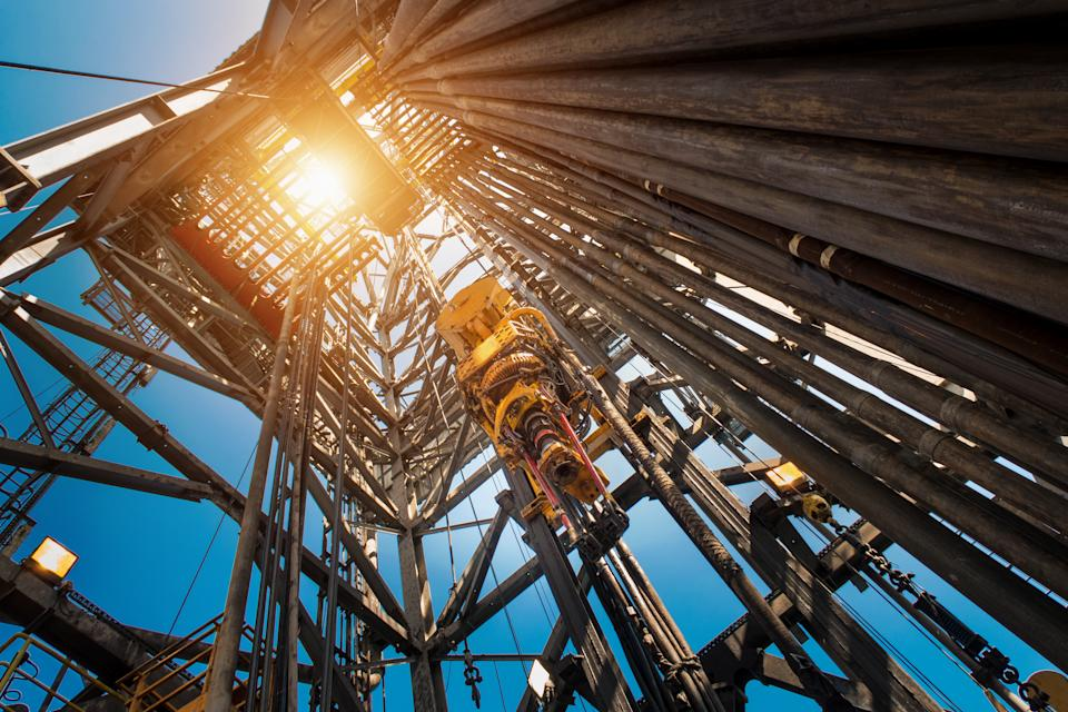 Oil drilling rig operation on the oil platform in oil and gas industry. Industrial concept.