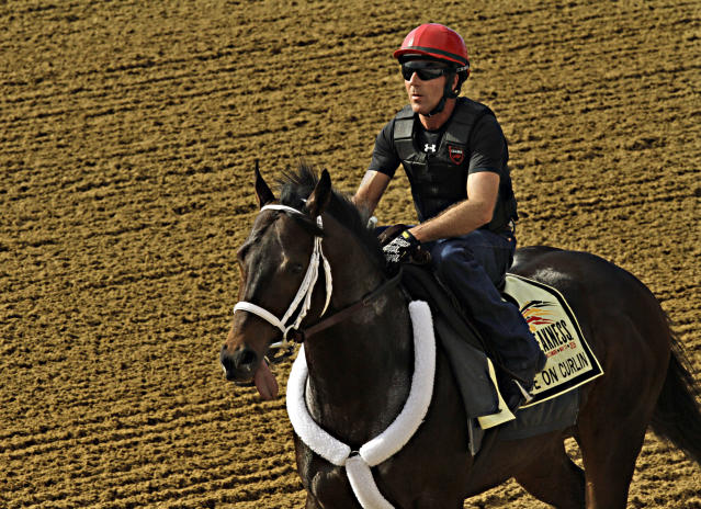 Exercise rider Bryan Beccia gallops Preakness Stakes hopeful Ride On Curlin the wrong way around the track at Pimlico Race Course in Baltimore, Md., Tuesday, May 13, 2014. The Preakness Stakes horse race is scheduled for Saturday. (AP Photo/Garry Jones)