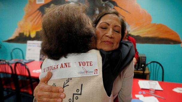 PHOTO: Democratic Congressional candidate Deb Haaland hugs a supporter at a Native Vote Celebration on midterm elections night in Albuquerque, N.M., Nov. 6, 2018. (Brian Snyder/Reuters)