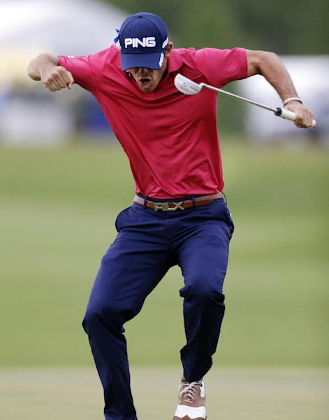 Billy Horschel celebrates after sinking a birdie putt on the 18th green to win the PGA Zurich Classic golf tournament at TPC Louisiana in Avondale, La., Sunday, April 28, 2013. (AP Photo/Gerald Herbert)