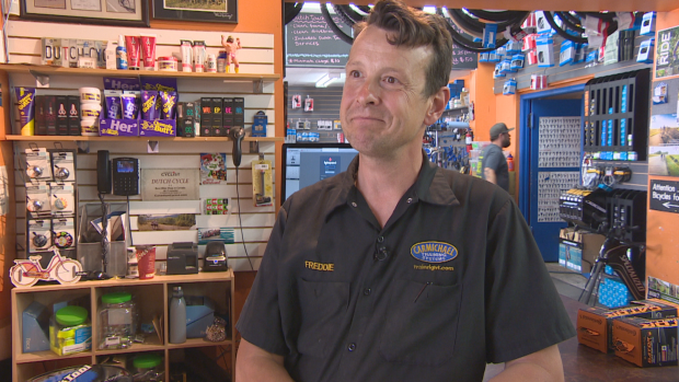 Freddie Vandelinden, one of the co-owners of Dutch Cycle, said they've had 300 bikes come into the shop in three days showing the demand of people wanting to get outdoors.  (Matt Howard/CBC News - image credit)