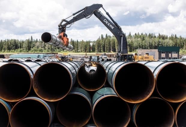 Pipe for the Trans Mountain pipeline is unloaded in Edson, Alta. on Tuesday June 18, 2019. (Jason Franson//The Canadian Press - image credit)