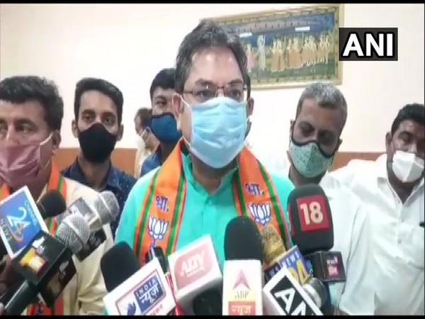 State BJP President Satish Poonia speaking to reporters in Jodhpur on Wednesday. [Photo/ANI]