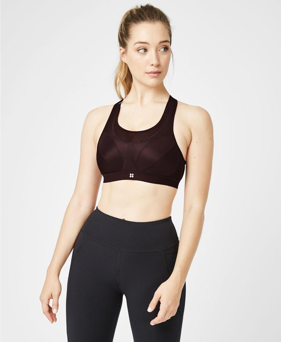 "<p>sweatybetty.com</p><p><strong>$75.00</strong></p><p><a href=""https://go.redirectingat.com?id=74968X1596630&url=https%3A%2F%2Fwww.sweatybetty.com%2Fus%2Fshop%2Funderwear%2Fsports-bras%2Fultra-run-sports-bra-SB308A_BlackCherry.html%3Fdwvar_SB308A__BlackCherry_color%3Dblackcherry%26cgid%3Dunderwear-sports-bras%26tile%3D26&sref=https%3A%2F%2Fwww.womenshealthmag.com%2Ffitness%2Fg28772847%2Fbest-high-impact-sports-bra%2F"" rel=""nofollow noopener"" target=""_blank"" data-ylk=""slk:Shop Now"" class=""link rapid-noclick-resp"">Shop Now</a></p><p>Looks good, feels even better, and comes in band and cup sizes from 32A to 38F, you'll be ready to cruise miles in comfort when you strap into this bra. </p><p><strong>Reviewer rave:</strong> ""I bought this sports bra to wear running as I was starting to run over 5km and was finding my existing sports bras were not providing the level of support I needed. This sports bra is a game-changer. I now have two of the ultra run sports bras and am so happy with the product. They are amazingly functional and has a great look and feel."" <em>—Eva101, sweatybetty.com</em></p>"