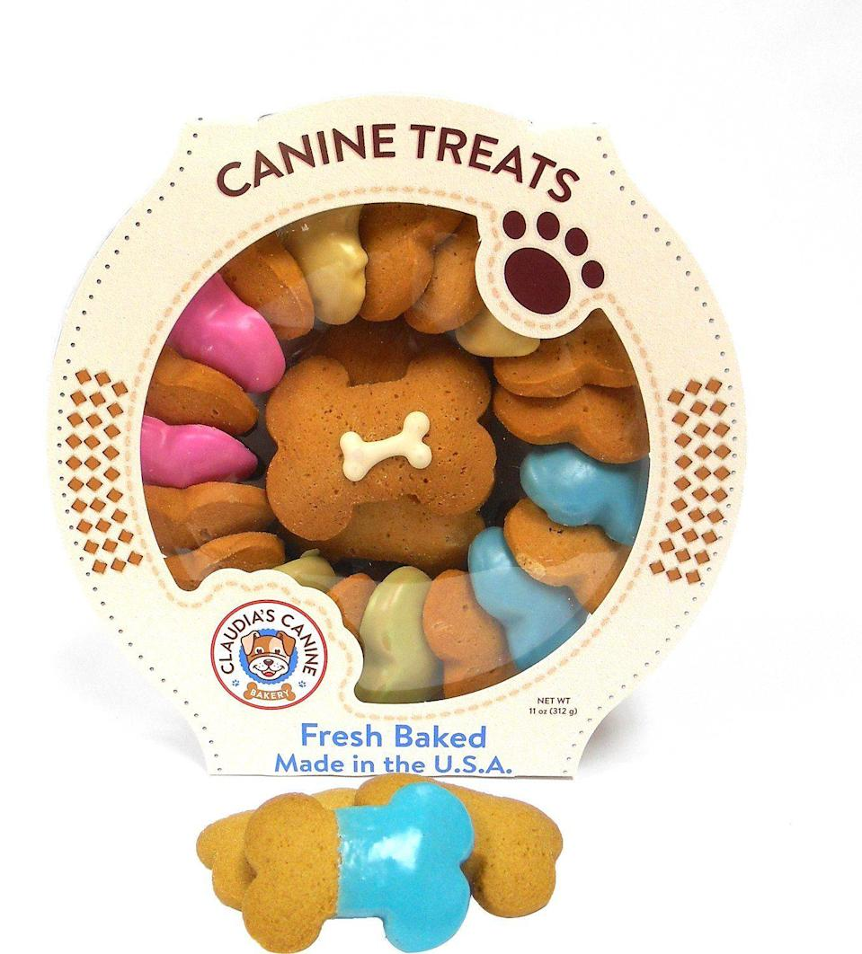 """<p><strong>Claudia's Canine Bakery</strong></p><p>chewy.com</p><p><strong>$19.99</strong></p><p><a href=""""https://go.redirectingat.com?id=74968X1596630&url=https%3A%2F%2Fwww.chewy.com%2Fclaudias-canine-bakery-carousel%2Fdp%2F202104&sref=https%3A%2F%2Fwww.marieclaire.com%2Fhome%2Fg24851290%2Fbest-dog-gifts%2F"""" rel=""""nofollow noopener"""" target=""""_blank"""" data-ylk=""""slk:SHOP IT"""" class=""""link rapid-noclick-resp"""">SHOP IT</a></p><p>If you've made it this far in this guide, you're probably the kind of person who throws your dog birthday parties. (No shame; you're talking to one.) This is a perfect party treat for all the dogs that come. (P.S. If you need a dog birthday cake recipe, I've used <a href=""""https://www.lovefromtheoven.com/spoiled-dog-cake-recipe/#wprm-recipe-container-35184"""" rel=""""nofollow noopener"""" target=""""_blank"""" data-ylk=""""slk:this one before"""" class=""""link rapid-noclick-resp"""">this one before</a> and my dog <em>loved </em>it.)</p>"""